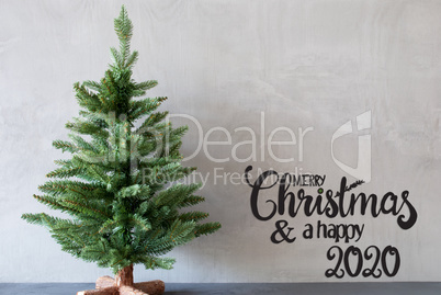 Christmas Tree, Merry Christmas And A Happy 2020, Gray Background
