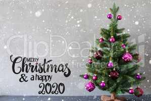 Christmas Tree, Purple Ball, Merry Christmas And A Happy 2020, Snowflakes