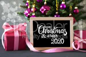 Christmas Tree, Pink Gift, Bokeh, Merry Christmas And Happy 2020, Ball
