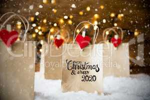 Christmas Shopping Bag, Snow, Snowflakes, Merry Christmas And Happy 2020