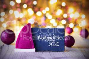 Sparkling Lights, Ball, Purple Santa Hat, Glueckliches 2020 Mean Happy 2020