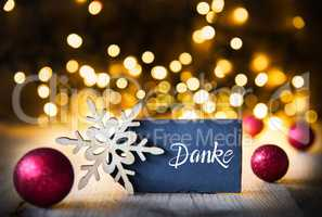 Sparkling Lights, Ball, Snowflake, Danke Means Thank You