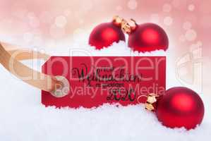 Red Christmas Ball Ornament, Snow, Label, Glueckliches 2020 Mean Happy 2020