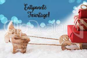 Reindeer, Sled, Blue Background, Entspannte Feiertage Means Merry Christmas