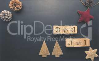 God Jul on wooden blocks