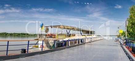 Pleasure boat in the city of Vilkovo, Ukraine