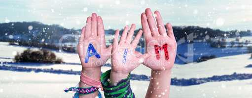 Children Hands Building Word Aim, Snowy Winter Background