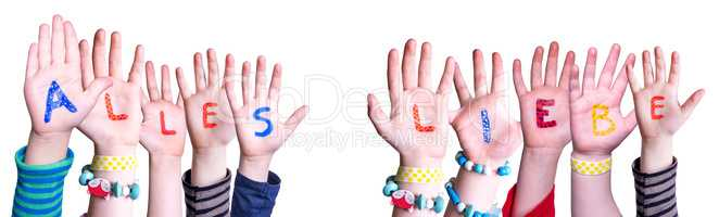 Children Hands Building Word Alles Liebe Means Best Wishes, Isolated Background
