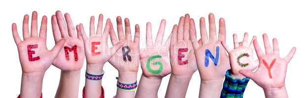 Children Hands Building Word Emergency, Isolated Background