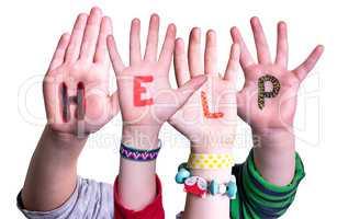 Children Hands Building Word Help, Isolated Background