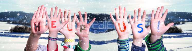 Children Hands Building Word Help Us, Snowy Winter Background