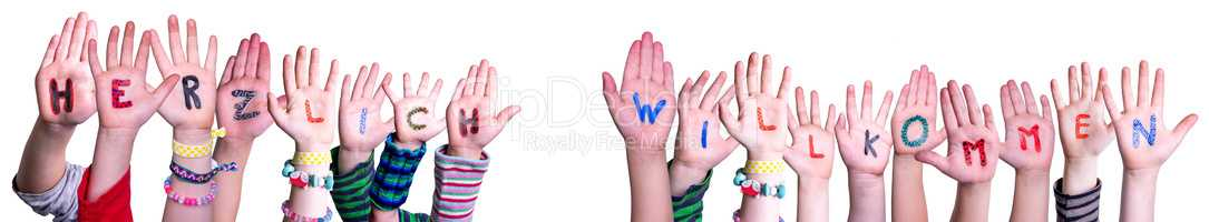 Children Hands Building Word Willkommen Mean Welcome, Isolated Background