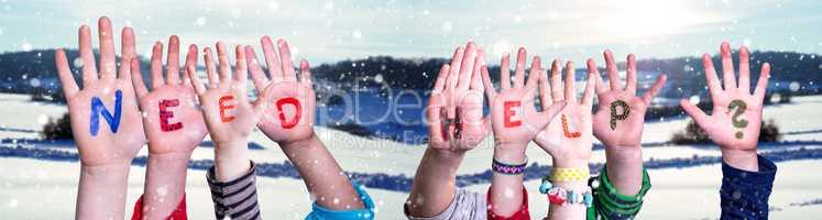 Children Hands Building Word Need Help, Snowy Winter Background