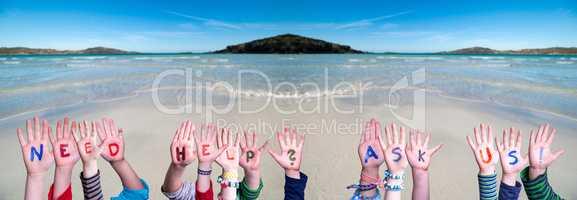 Children Hands Building Word Need Help Ask Us, Ocean Background