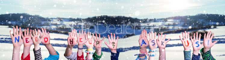 Children Hands Building Word Need Help Ask Us, Snowy Winter Background