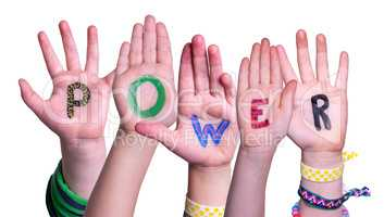 Children Hands Building Word Power, Isolated Background