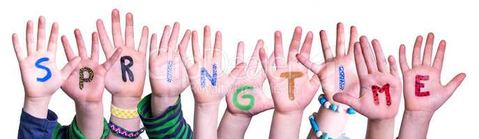 Children Hands Building Word Springtime, Isolated Background
