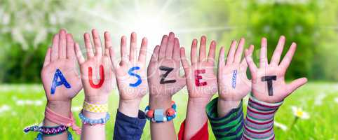 Children Hands Building Word Auszeit Means Downtime, Grass Meadow