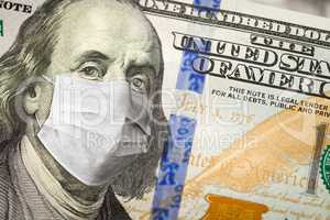 One Hundred Dollar Bill With Medical Face Mask on George Washing