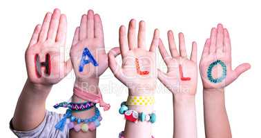 Children Hands Building Word Hallo Means Hello, Isolated Background