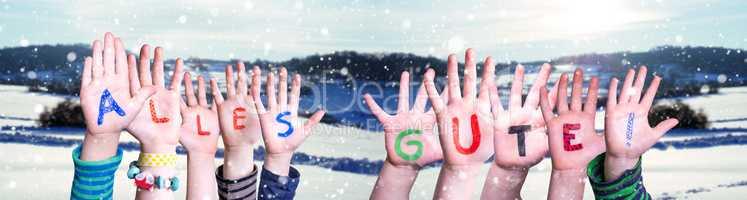 Children Hands Building Word Alles Gute Means Best Wishes, Snowy Winter Background
