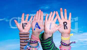 Children Hands Building Word Fair, Blue Sky