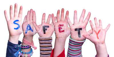 Children Hands Building Word Safety, Isolated Background