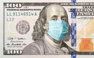 One Hundred Dollar Bill With Medical Face Mask on Benjamin Frank