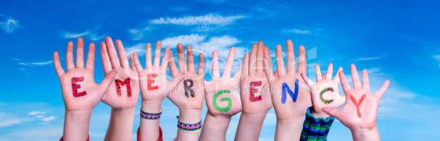 Children Hands Building Word Emergency, Blue Sky