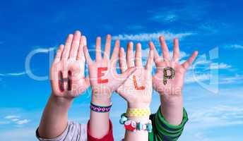 Children Hands Building Word Help, Blue Sky