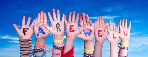 Children Hands Building Word Farewell, Blue Sky