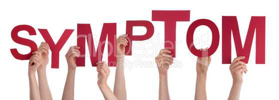 People Hands Holding Word Symptom, Isolated Background