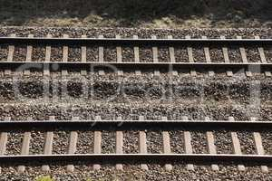 Railway rails and sleepers. Railway tracks shot from above