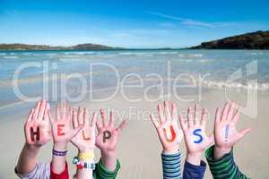 Children Hands Building Word Help Us, Ocean Background