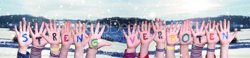 Hands Building Word Streng Verboten Means Strictly Forbidden, Winter Background