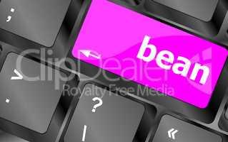 bean word on keyboard key, notebook computer button
