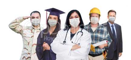 Variety of People In Different Occupations Wearing Medical Face