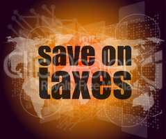 words save on taxes on business digital touch screen, infographics