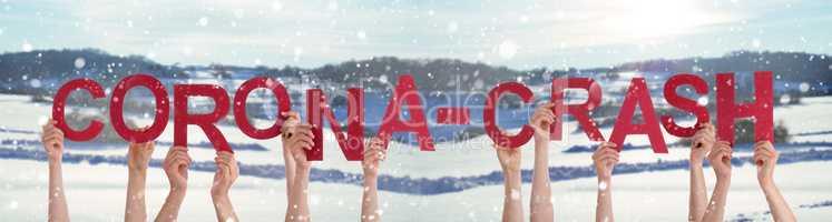 People Hands Holding Word Corona-Crash, Snowy Winter Background