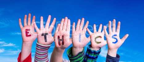 Children Hands Building Word Ethics, Blue Sky