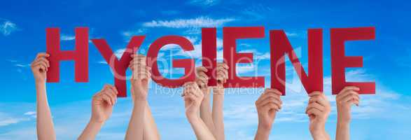 People Hands Holding Word Hygiene, Blue Sky