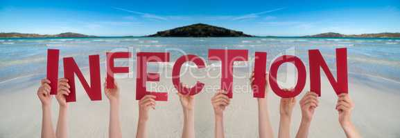 People Hands Holding Word Infection, Ocean Background