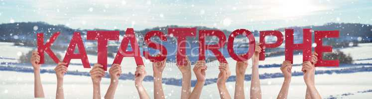 People Hands Holding Word Katastrophe Means Catastrophe, Snowy Winter Background
