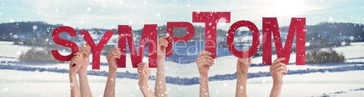 People Hands Holding Word Symptom, Snowy Winter Background