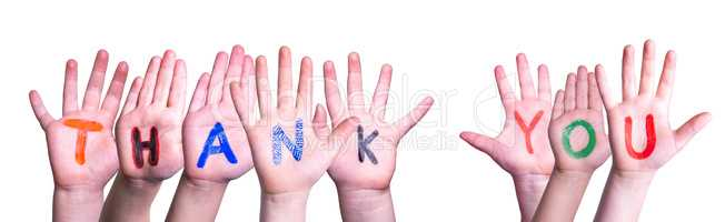 Many Children Hands Building Word Thank You, Isolated Background