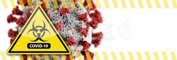 Banner of Coronavirus COVID-19 Bio-hazard Warning Sign with Viru