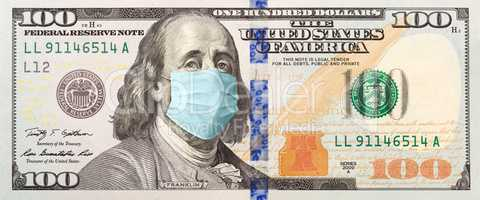 Full 100 Dollar Bill With Concerned Expression Wearing Medical F