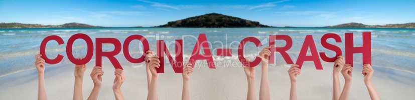 People Hands Holding Word Corona-Crash, Ocean Background