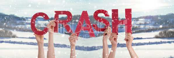 People Hands Holding Word Crash, Snowy Winter Background