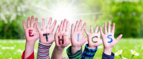 Children Hands Building Word Ethics, Grass Meadow